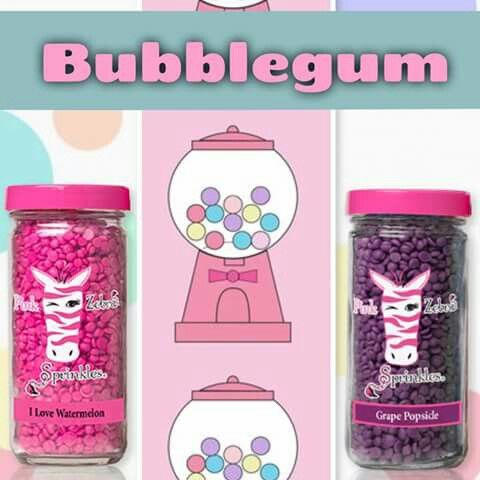 Pink Zebra recipe for Bubblegum is made using I Love Watermelon and Grape Popsicle sprinkles. Go to www.pinkzebrahome.com/mrasley to order.