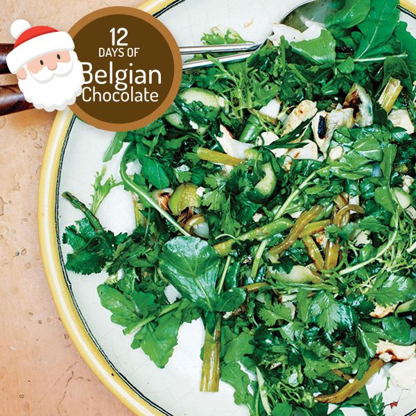Grilled green salad with Belgian Chocolate Espresso vinaigrette