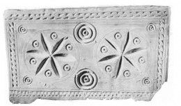 Ossuaries discovered in the Giv'at ha-Mivtar tombs. Made of local limestone, these ossuaries display various incised decorations. Six-petaled rosettes and concentric circles decorate a small ossuary that contained the bones of two children.