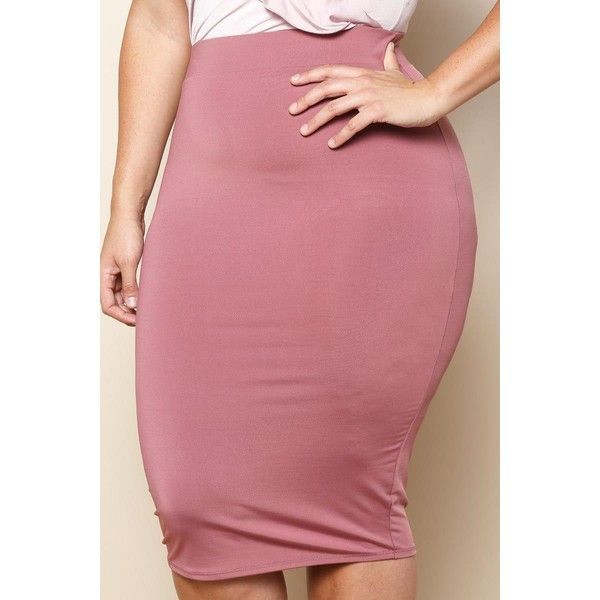 PLUS SIZE ESSENTIAL MIDI PENCIL SKIRT ($16) ❤ liked on Polyvore featuring skirts, plus size pencil skirt, calf length pencil skirts, midi pencil skirts, elastic waist skirt and red knee length skirt