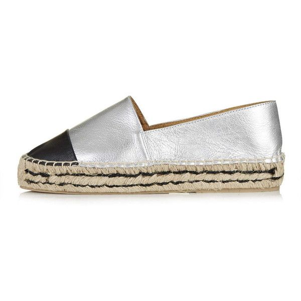 TopShop Kangaroo Espadrille ($66) ❤ liked on Polyvore featuring shoes, sandals, silver, flat pointy shoes, leather espadrille flats, pointy flats, espadrilles shoes and espadrille flats