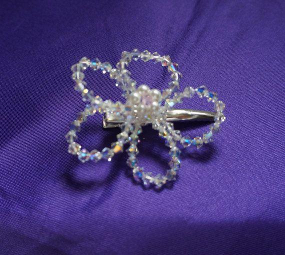 Flower Hair Clips  Swarovski Crystal  & by Makewithlovecrafts, £5.50