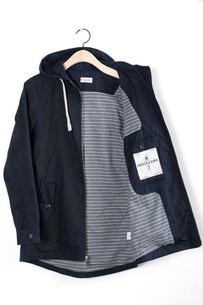 Warbler Navy Waxed Cotton Jacket | Bridge & Burn