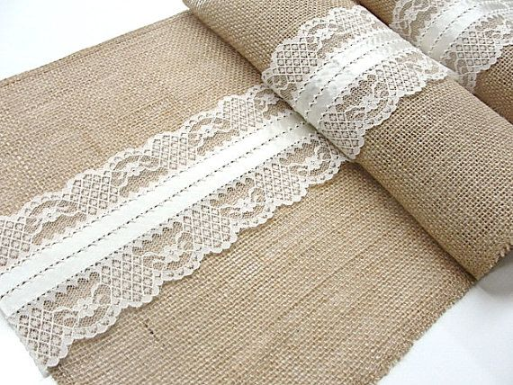 Natural Burlap and ivory lace table runner, wedding table runner with italian lace rustic wedding party linens for your rustic wedding table this