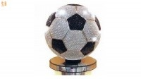 De Zuid-AfrikaansejuwelierYairShimanskyverblindde FIFA en allevoetbal fansmet de record-brekende2,5 miljoen dollar-waardevoetbal. Deze bejeweledbal beschikt over 6620 witte diamanten en 2640 zwarte