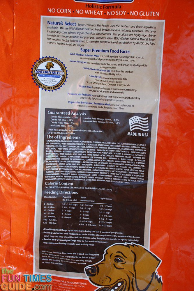 The list of dog food ingredients on the back of Natures Select Salmon & Sweet Potato dog food bag. photo by Lynnette at TheFunTimesGuide.com