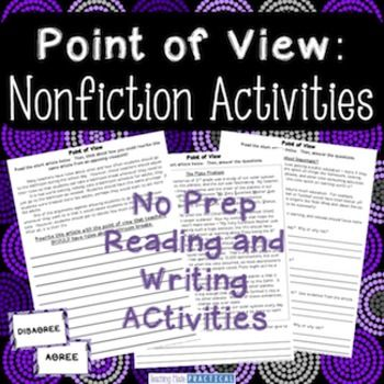 Point of View: Nonfiction - This can be a difficult skill to teach, especially when you are trying to teach students to think about how their own point of view might be different from the author's point of view.  Save 20% when you buy this product as part of my Point of View Activities Bundle!This point of view product includes:  -Point of View Discussion Sentence Starters to encourage polite conversation-3 Nonfiction Reading Passages with questions that encourage students to think about…