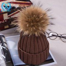 Pompons de vison e pele de raposa bola cap chapéu de inverno para as mulheres hatknitted cap gorros de algodão de lã da menina nova marca grosso cap fêmea(China (Mainland))