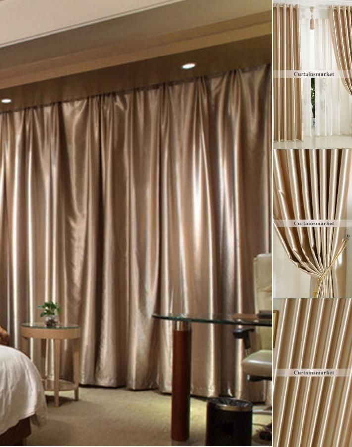 Good Blackout Champagne Soundproof Room Dividing Curtains Room