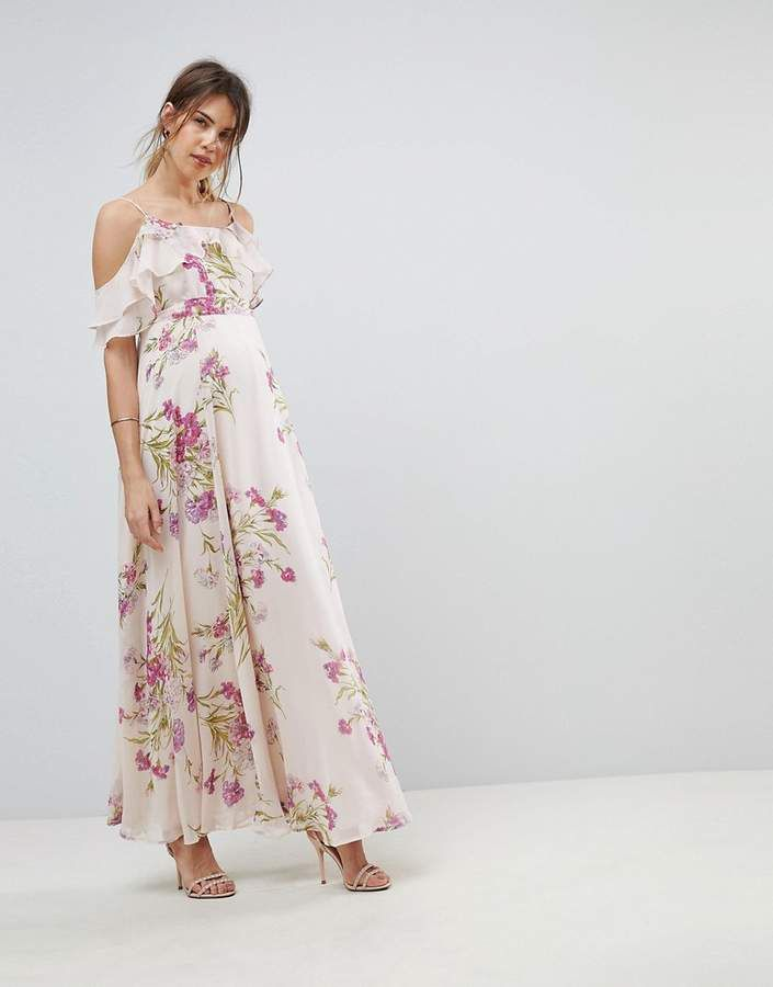 6d700acb1dd ASOS Maternity ASOS MATERNITY Floral Print Maxi Dress with Ruffle Cold  Shoulder
