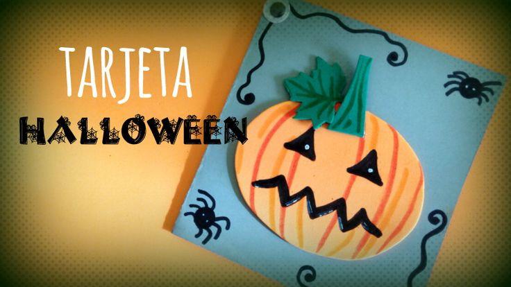 Tarjeta Halloween de calabaza muy fácil - http://www.manualidadeson.com/tarjeta-halloween-calabaza.html