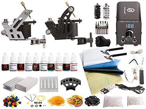 1TattooWorld Tattoo Kit 2 Tattoo Machines, Digital Power Supply, 10 Color 5ml Tattoo inks, Grips, Needles, Transfer Paper etc, OTW-KTB210A | Jet.com