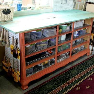 Repurposed Dresser Workbench (USE WHITE DRESSER) Instead of building a workbench from scratch, repurpose a large piece of furniture, such as a dresser. This model boasts a lot of storage space, and an oversize sheet of plywood enlarges the workable surface area.