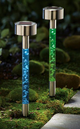 """Solar Bubble Garden Path Lights 2 Pc By Collections Etc by Collections. $12.99. Set of 2 color-changing outdoor stakes are an effective way to light your yard. Includes rechargeable """"AA"""" batteries. Stainless steel & plastic. 13 3/4""""H."""