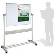 1200mm x 900mm Porcelain mobile whiteboard with unrivalled surface guarantee of 25 years.  Stylish corporate look with quality magnetic whiteboard surface. Tubular steel construction in Pearl Silver powder coated finish.