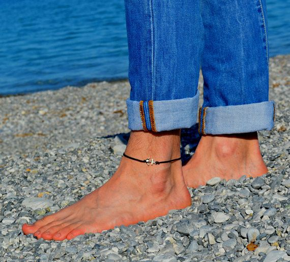 Anchor anklet for men, men's anklet with a silver anchor, black cord, anklet for men, gift for him, men's ankle bracelet, nautical jewelry