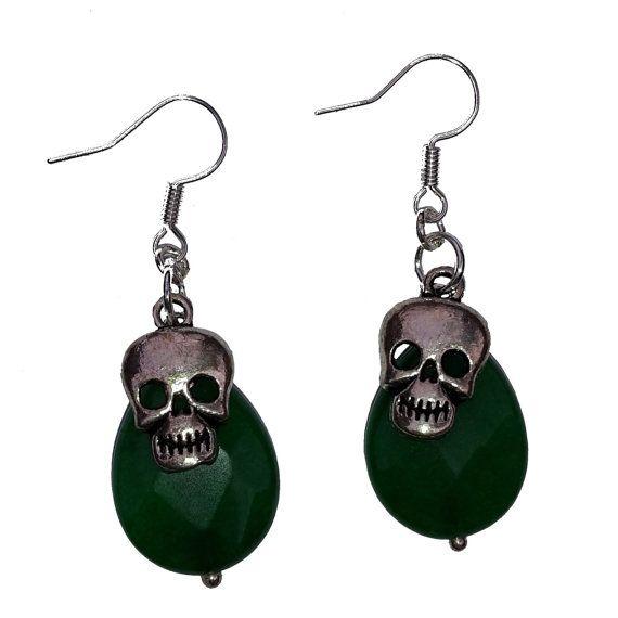 Halloween oorbellen met skull schedel doodshoofd door MissFrauque