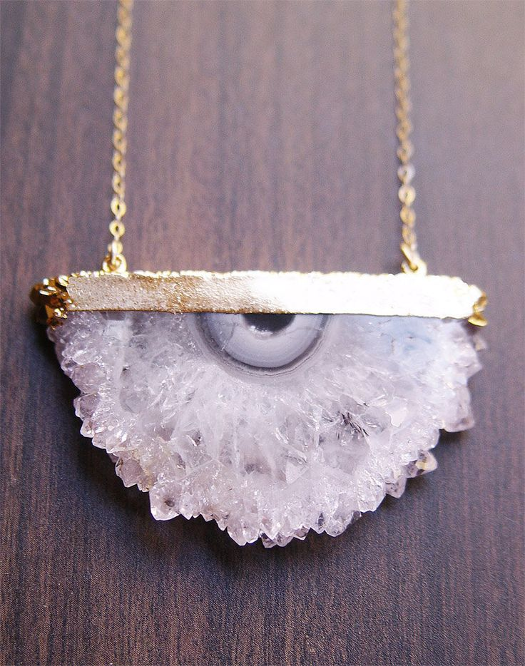 Druzy Amethyst Stalactite Necklace in Gold.
