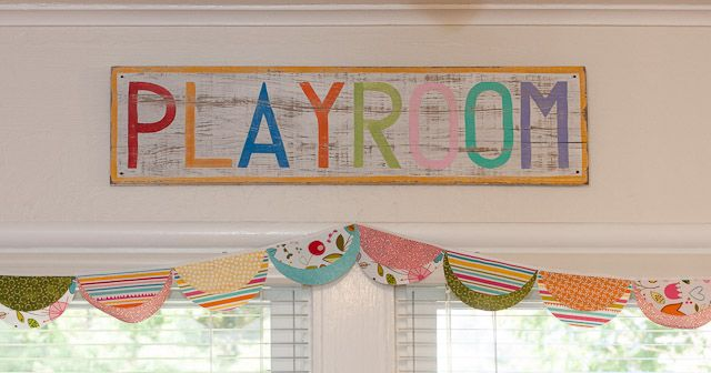 Love the playroom sign and bunting for the playroom makeover