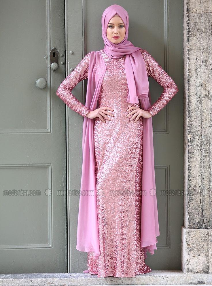 Sequined Evening Dress - Pink - Aysen Ozen