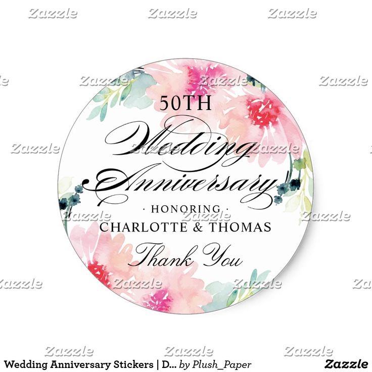 Wedding Anniversary Stickers | Daisy Watercolor These elegant wedding anniversary celebration favor stickers feature a lovely floral frame of watercolor daisy flowers in soft shades of pink, blush, aqua, and green. Classic black personalized text for the guests of honor's names with a custom Thank You message. Perfect for a spring or summer event.