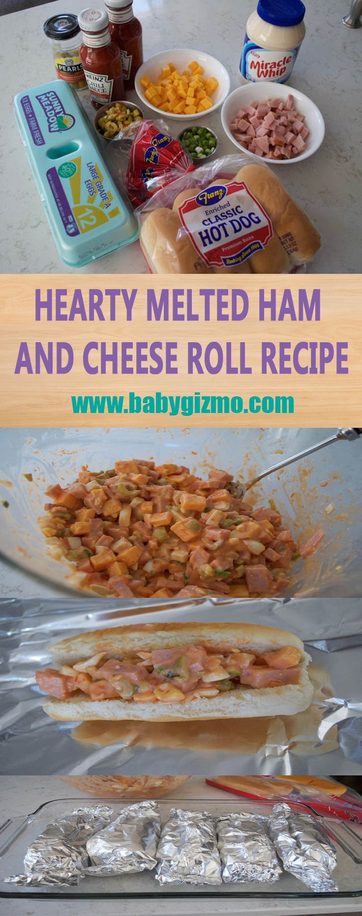 Hearty Melted Ham and Cheese Roll #HamandCheese #EasyLunch