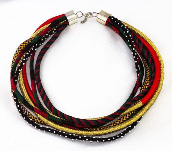 Multi-stranded boho necklace, fabric necklace, handmade jewellery, silver lobster clasp, beaded strand, reused materials