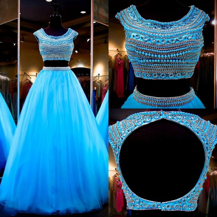 Best Prom Dress 2016 Turquoise Two Pieces Prom Dresses With Cap Sleeves Real Images Jewel Neck Beading Crystals Tulle Ball Gown Quinceanera Dresses Backless Online Dress Shop From Nicedressonline, $179.8  Dhgate.Com