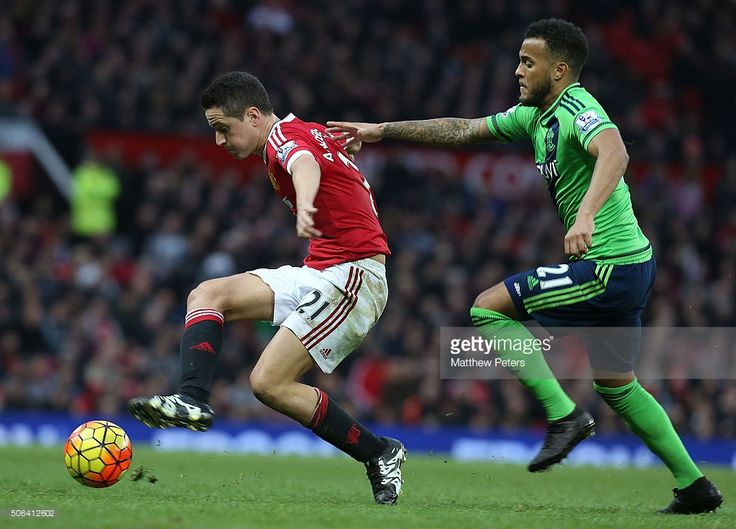 Ander Herrera of Manchester United in action with Ryan Bertrand of Southampton during the Barclays Premier League match between Manchester United and Southampton at Old Trafford on January 23, 2016 in Manchester, England.