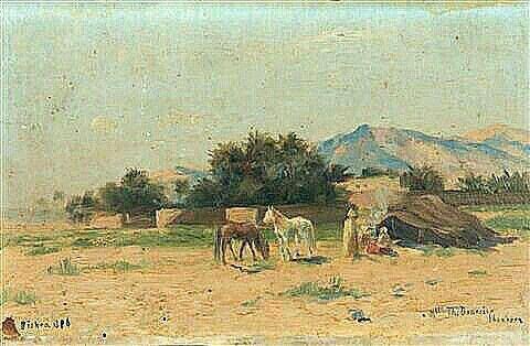 Algérie - Peintre Hongrois, John Lewis Shonborn ( 1852–1931), Huile sur toile1880, Titre: Biskra