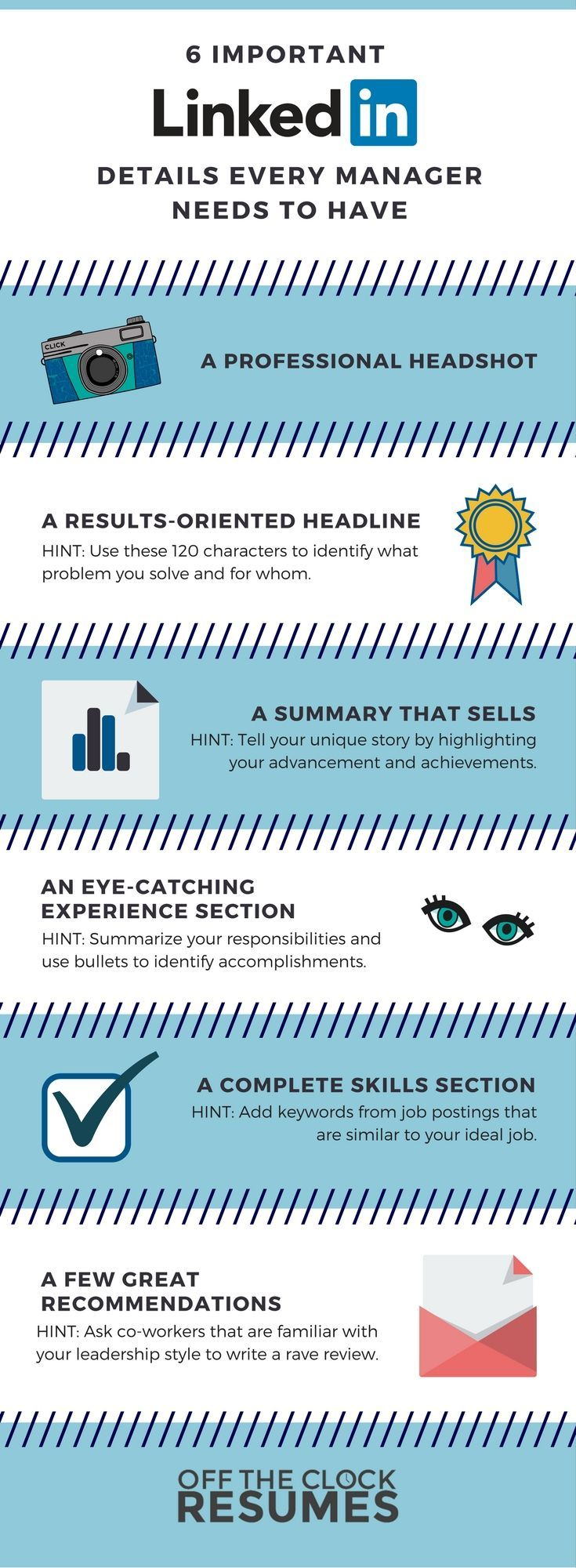 Beautiful 6 Important LinkedIn Details Every Manager Needs To Have:  Infographic | Off The Clock