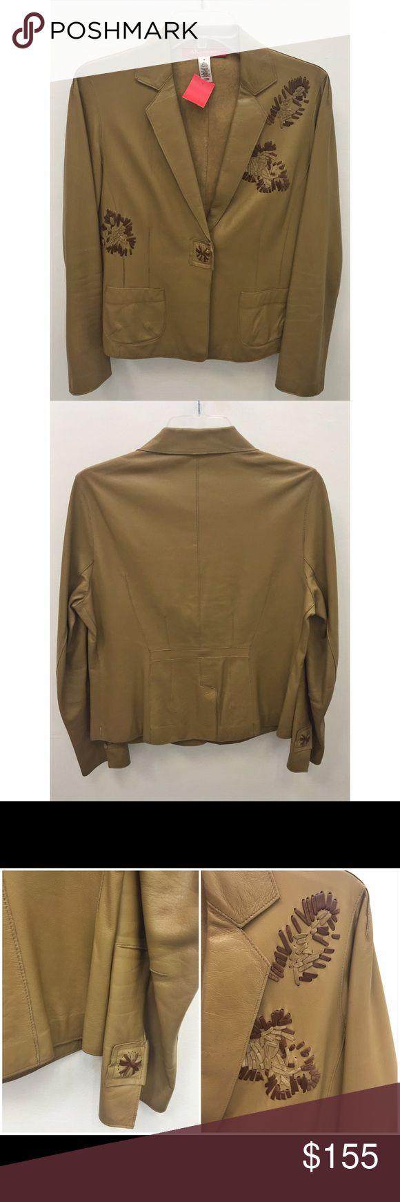 Anne Klein Tan Leather Jacket Anne Klein tan leather jacket with whipstitch design, retails $389, size M Anne Klein Jackets & Coats