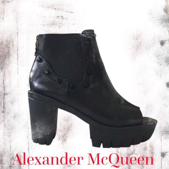 """Alexander McQueen black leather studded ankle boot Awesome Alexander McQueen black leather ankle boots!!  Size 7, fits true to size.  Very good condition!  Lightly worn, with no flaws.  Details: * Leather construction * Studded design * Peep toe * Chelsea style elastic on sides with studded trim * 1.5"""" rubber platform, 3.5"""" chunky heel, 3.75"""" shaft height  * Back zipper closure Alexander McQueen Shoes Ankle Boots & Booties"""