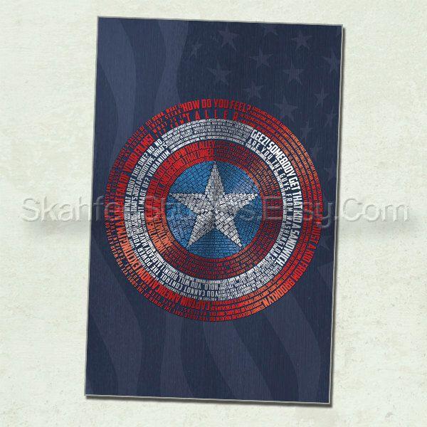bouclier word art vengeurs art captain america affiche captain america par skahfeestudios sur etsy