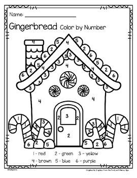gingerbread colornumber printables  3 pages  printable numbers house colouring pages