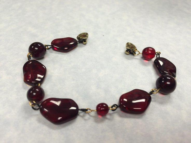 beautiful blood red glass beads