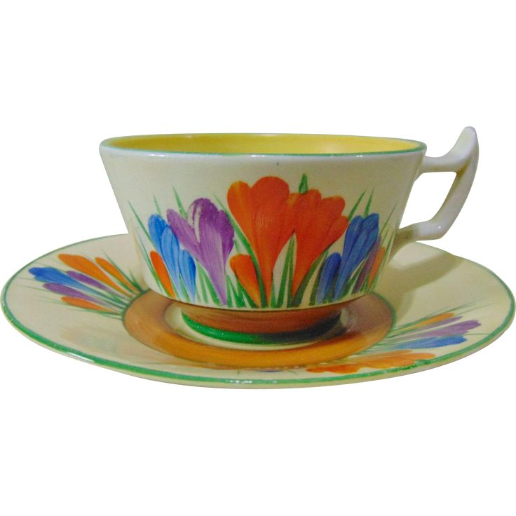 Clarice Cliff Early 1930's Tea Cup and Saucer - Athens Design Tea Cup, from timeless-antiques on Ruby Lane