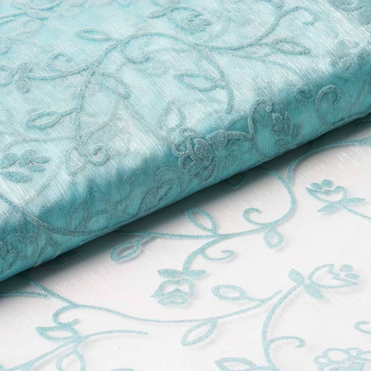 "54"" x 10 Yards Velvet Embroidery Sheer Organza Fabric Bolt Wedding Drape Panel Dress Stage Decor - Turquoise / Add great flair in your party ambiance or formal wardrobe with this admirable velvet flower embroidered organza. This enticing combination of sheer organza and attractive velvet embroidered floral vines makes this fabric one of a kind. It is named Muchos Besos or Many Kisses in Spanish because of its unique attribute of amalgamating elegance with romantic floral accents. The…"