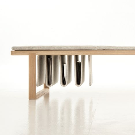 Noidoi's multifunctional Pulse daybed combines a resting space, magazine rack and serving tray.