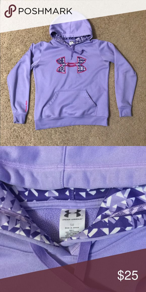 Under Armour Purple Women's Hoodie Under Armour brand hoodie in a bright purple color with the big emblem outlined in pink on the front! Very cool design, no rips in great condition! Size Women's Small- Made in Jordan Under Armour Tops Sweatshirts & Hoodies