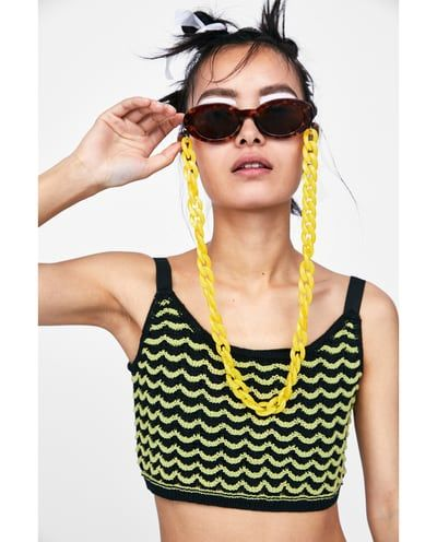 2834e921193 Image 5 of OVAL SUNGLASSES WITH PLASTIC CHAIN from Zara