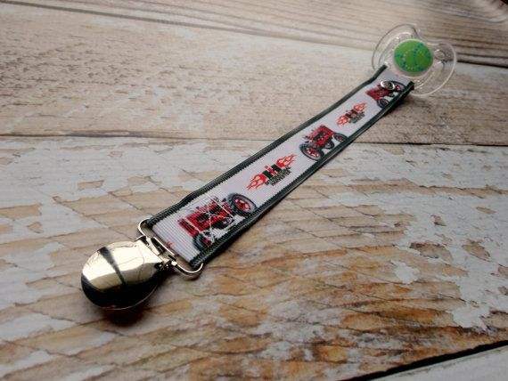 Baby Pacifier Clip - International Harvester IH inspired Red Tractor, Farming, Country Boy Country Girl (Shabby Rose Option)