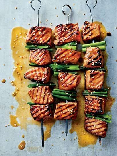 Cold Busting Wasabi Salmon Skewers | Cooked