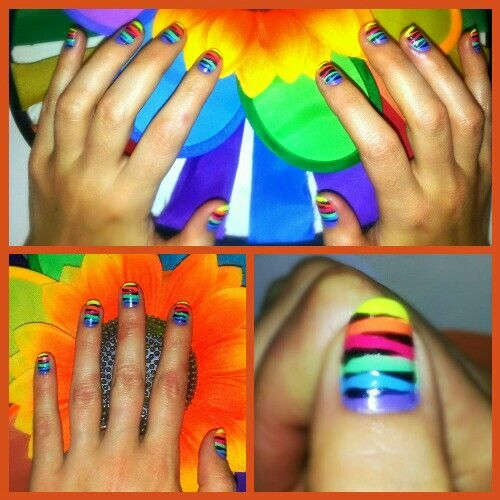 Six Color Zebra nail art