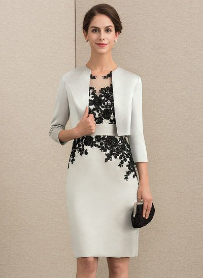 bfad141a Sheath/Column Scoop Neck Knee-Length Satin Lace Mother of the Bride Dress  With Beading Sequins