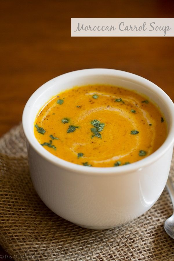 Moroccan Carrot Soup. This soup is made creamy with coconut milk. Dairy free. Delicious.