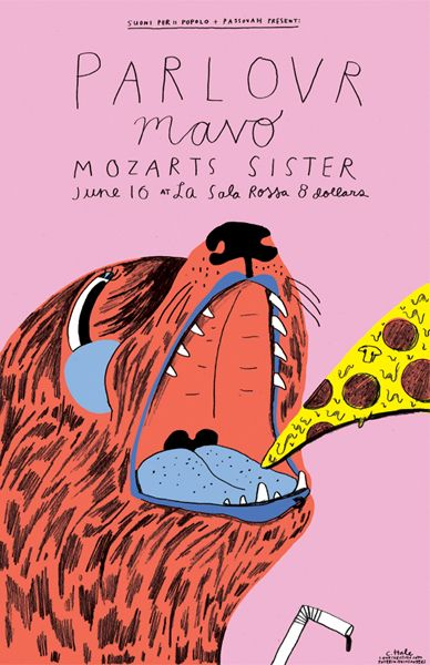Ohara Hale, Parlovr - Mavo - Mozarts Sister, poster design illustration pizza