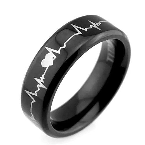 """Lifetime Love"" 6mm Black Titanium Rings Cardiogram Heartbeat Laser Pattern Unique Wedding Rings"