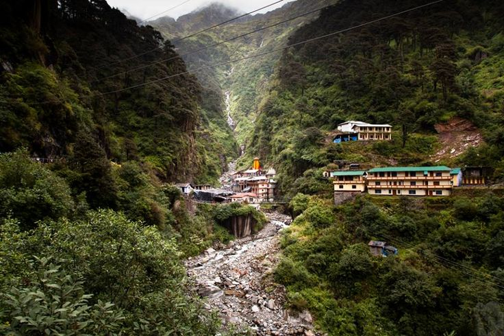The Yamunotri temple from distance situated on the steep banks of Yamuna, Uttarkashi, Uttarakhand 249141, India. The temple is dedicated to Goddess Yamuna and has a black marble idol of the goddess. http://www.kovacspal.hu/rolam/