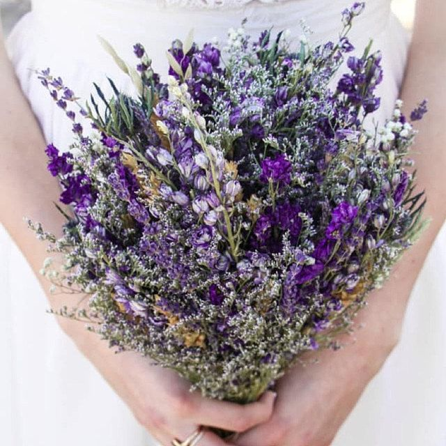 Woodsy Flower Crown Of Lavender And Purple Dried Flowers For A Etsy Lavender Wedding Flowers Dried Flowers Wedding Lavender Wedding Bouquet
